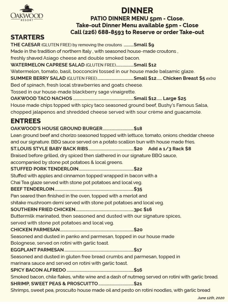 Grand Bend Restaurant Oakwood Resort