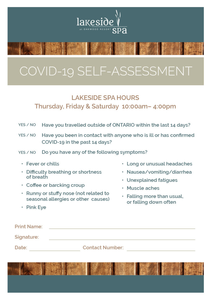 Lakeside Spa 2021 Guidelines