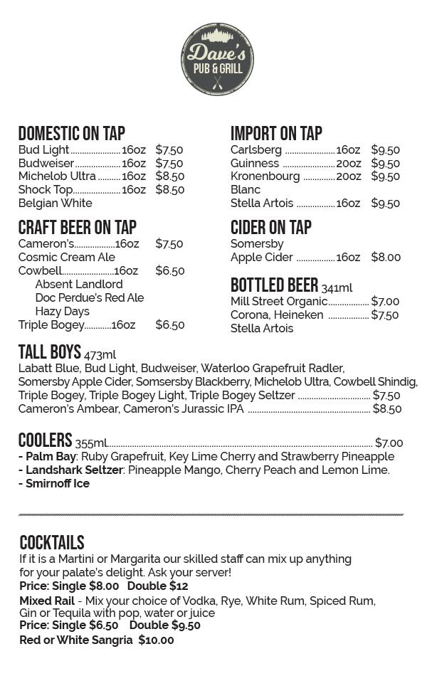 Grand Bend Restaurant - Beer Coolers Cocktails